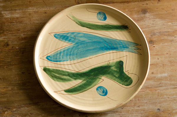 Hand-Painted Ceramic Serving Platter by Hans Fischer