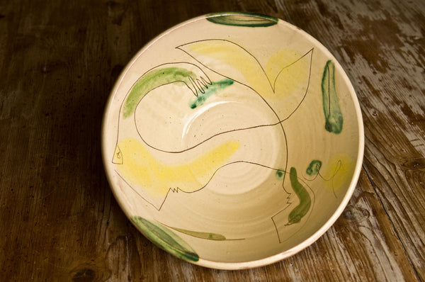 Hand-Painted Ceramic Serving Bowl by Hans Fischer