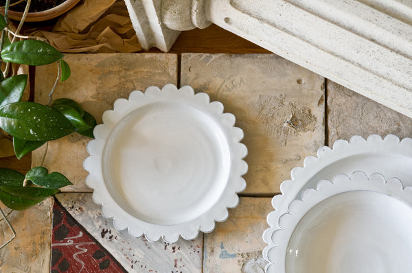 Fancy White Ceramic Side Plate