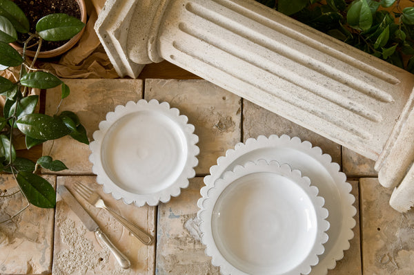 Fancy White Ceramic Dinner Set Made in Italy