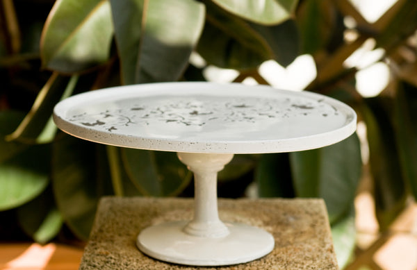 White Ceramic Cake Stand Made in Italy