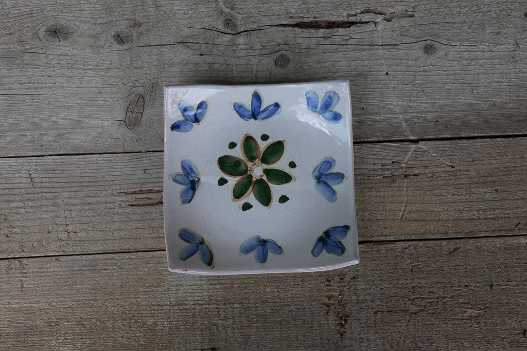 Zen Had-Painted Side Plate with blue and green floral designs