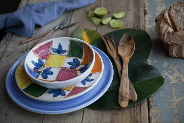 Hand-Painted Ceramic Dinner Set Made in Italy