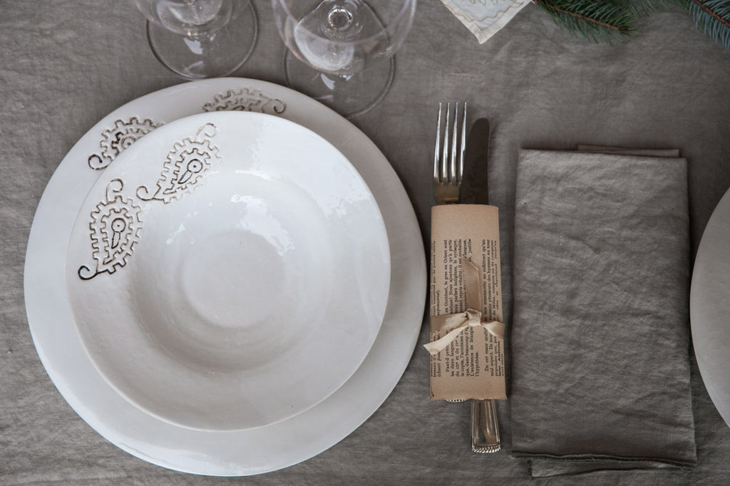 Foglia - Gold-White Porcelain Dinner Set