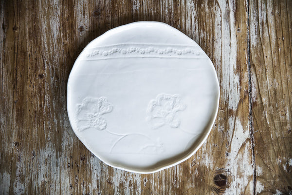Handmade Artistic White Porcelain Plate Made in Italy