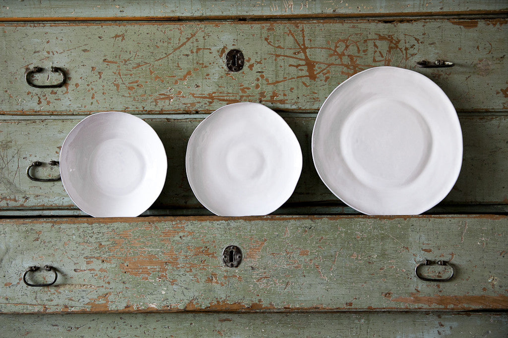 Milky White Ceramic Dinner Set Handmade in Italy