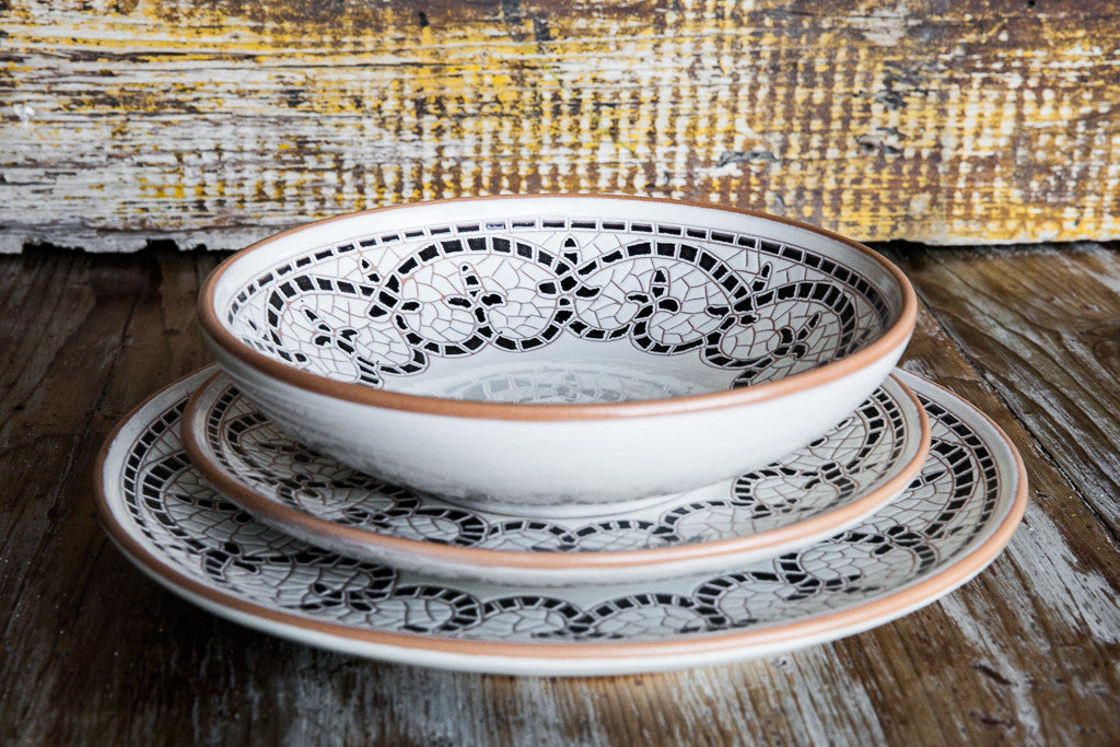 Brown Dinner Set: Dinner Plate, Soup Bowl, and Fruit Plate