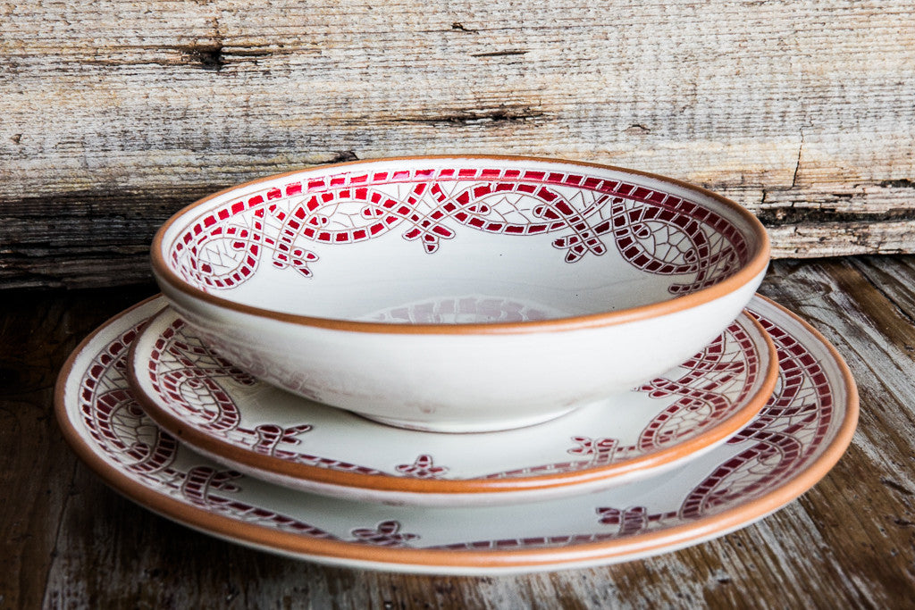 Red Dinner Set: Dinner Plate, Soup Bowl, and Fruit Plate