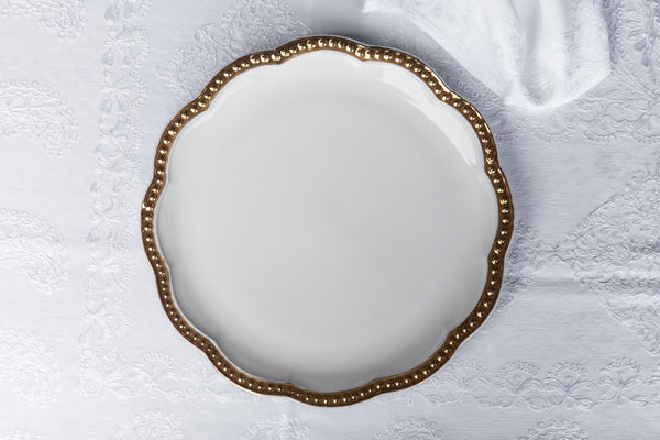 Elegant Ceramic Dish with golden edge made in Italy