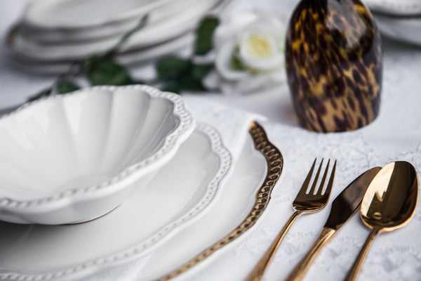 Elegant White Ceramic Dinner Set Made in Italy