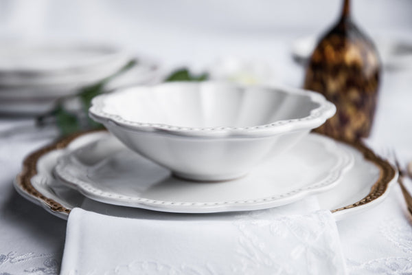 Elegant White Ceramic Pasta Bowl Made in Italy