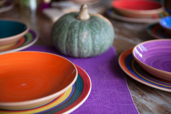 handmade colorful ceramic soup & pasta bowls