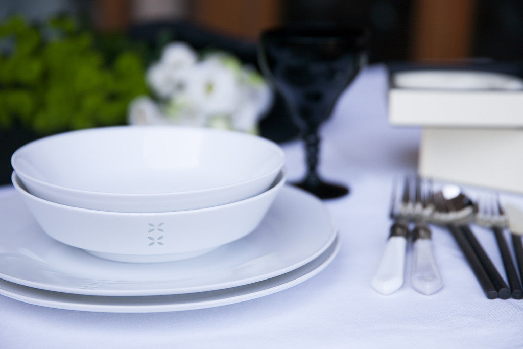 rice-grain porcelain dinner set