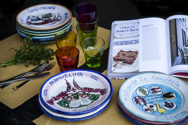 Handpainted Plates with Sea Motifs by Solimene di Vietri