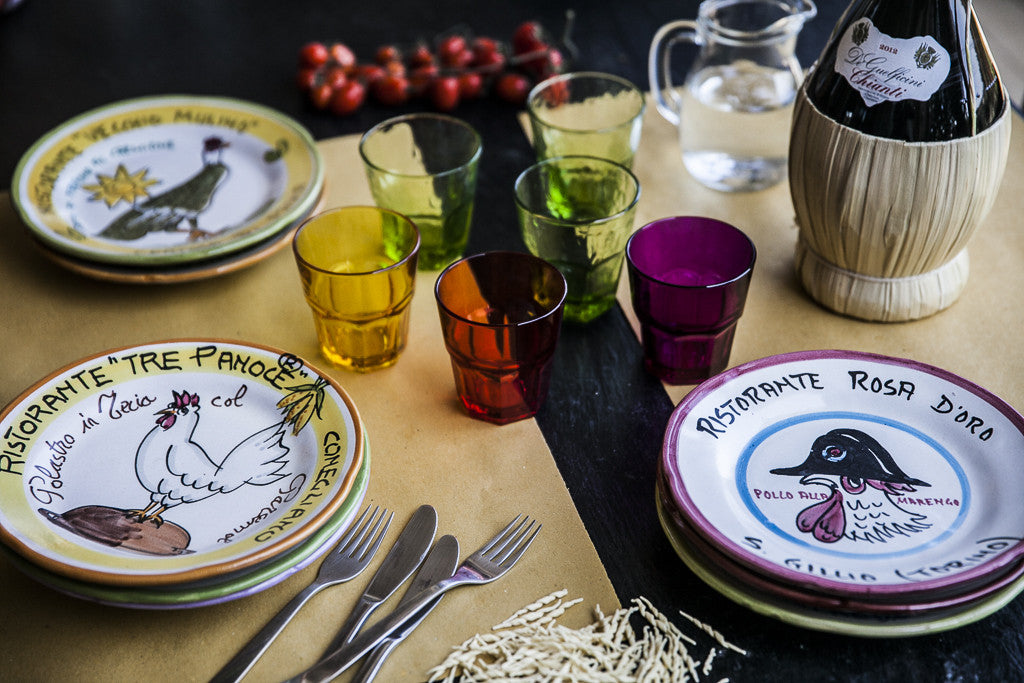 Hand-Painted Plates with Restaurant Motifs by Solimene
