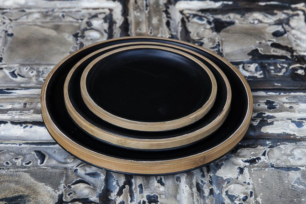 Loto - Black Porcelain & Bamboo Dinner Set