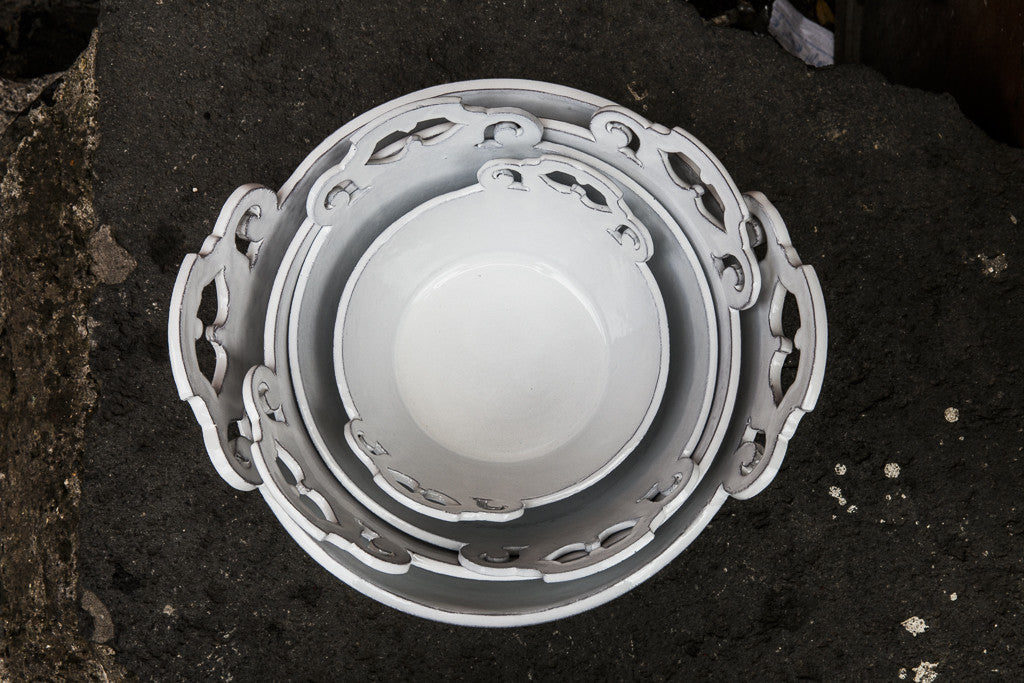 Handmade White Ceramic Bowls made in Italy