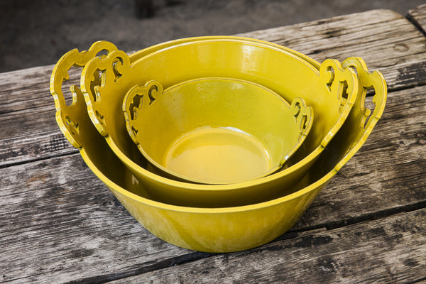 Cofane Oro Antico Golden Yellow Ornate Handle Bowls - dishesonly