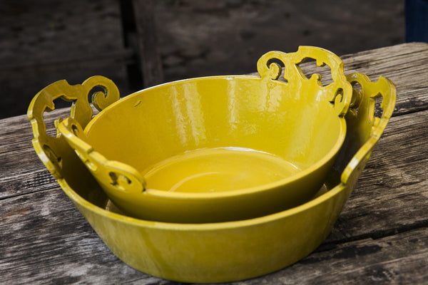 Golden Yellow Ornate Handles Bowls