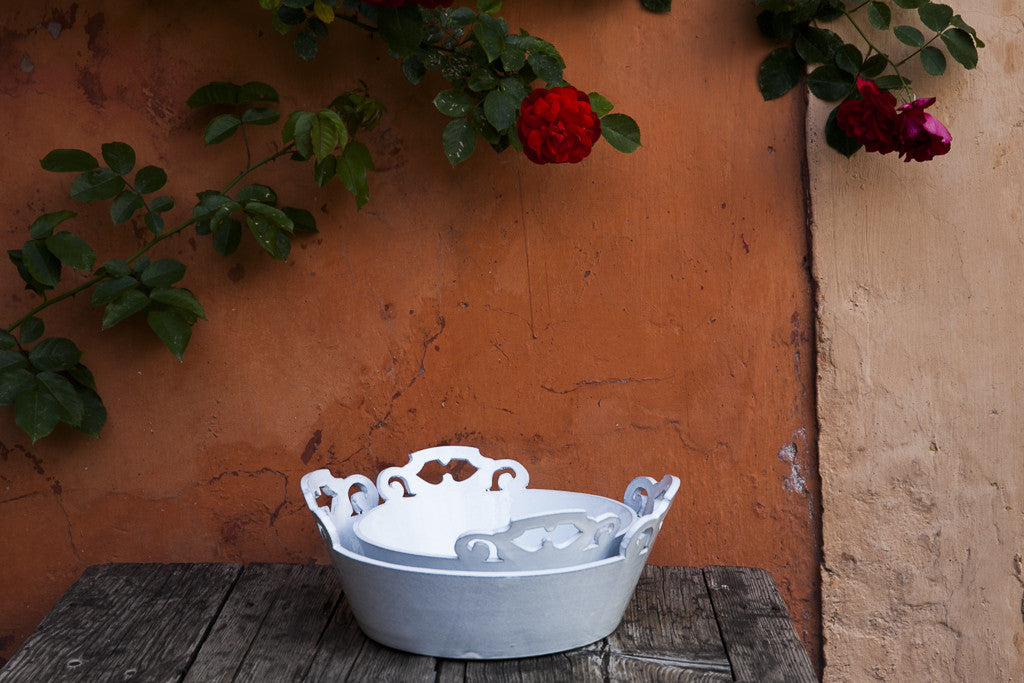 Cofane Bianche White Ornate Handle Serving Bowls -dishesonly
