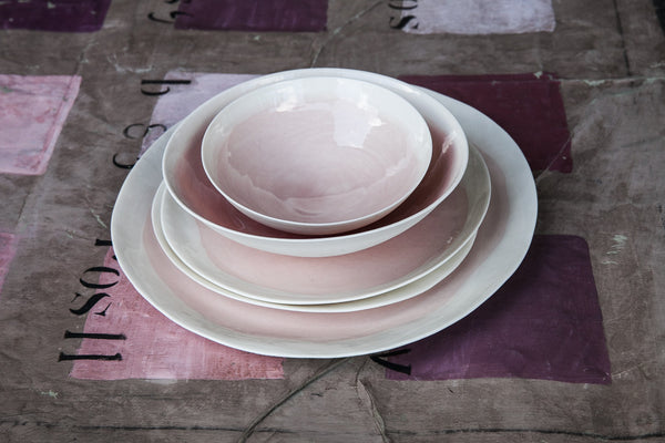 3-Piece Porcelain Dinner Set with Watercolor Effect
