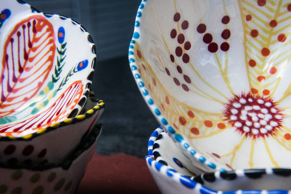 Hand-Painted Flower-Shaped Mini Bowls