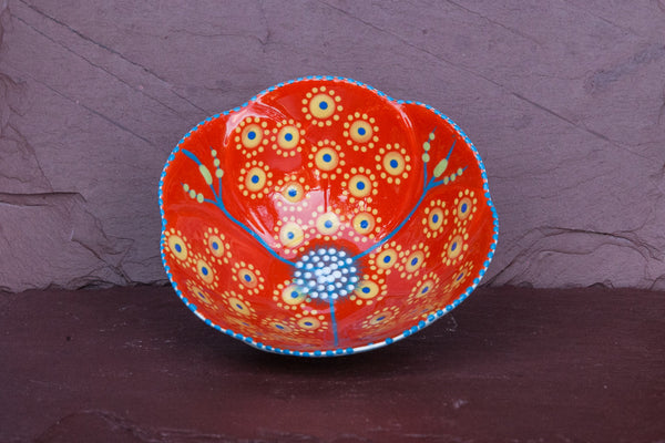 Hand-Painted Flower-Shaped Ceramic Bowl