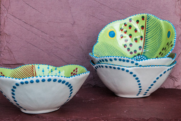 Hand-Painted Flower-Shaped Ceramic Bowls