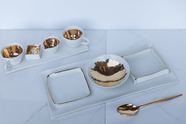 Alice - Porcelain Serving Set with Gold décor
