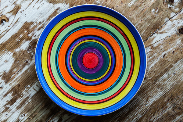 Arcobaleno Rainbow Pattern Dinner Plates From Sicily