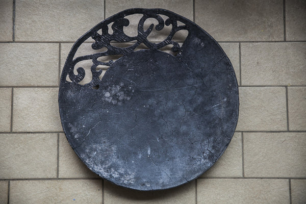 artistic black glass platter made in Italy
