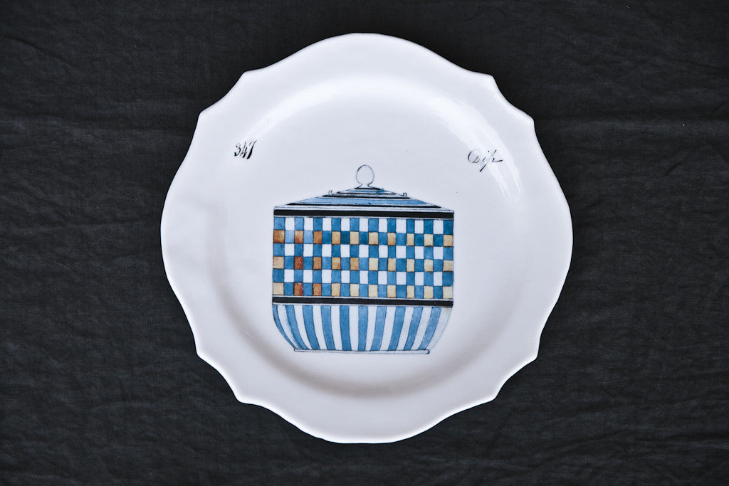 Printed Glass Dinner Plate Made in Italy