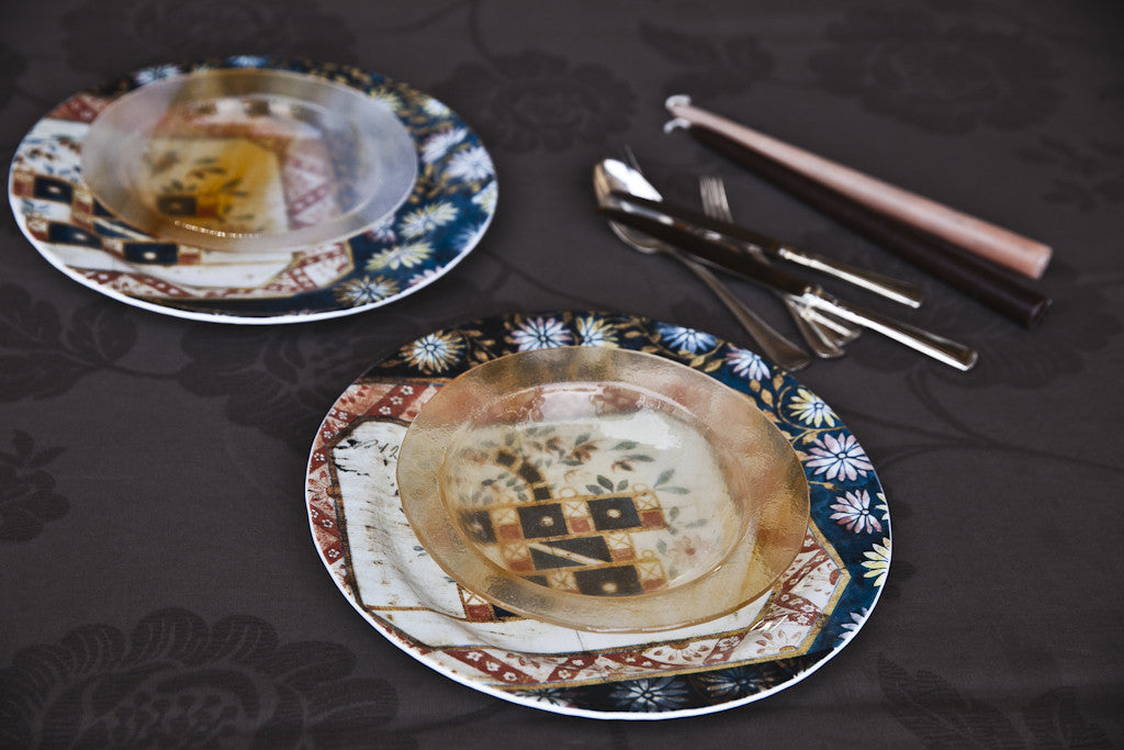 Decorative Print Glass Dinner Set by Forme Roma