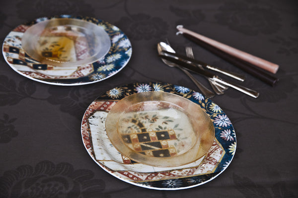 Decorative Print Glass Dinner Set by Forme Roma, handmade dinnerware, handmade dinnerware sets, artisan dinnerware, artisan dinnerware set, artisan glass dinnerware, artisan glass dinnerware set, unique dinnerware, unique dinnerware set, elegant dinnerware, elegant dinnerware set