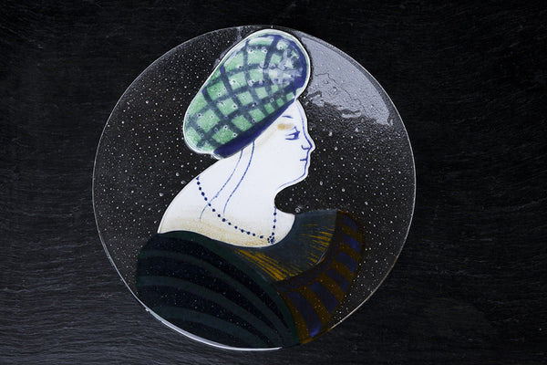 Handpainted Glass Platter Made in Italy