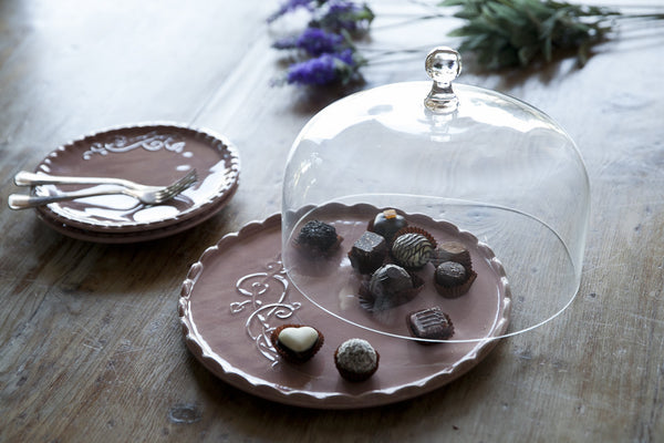 Elegant Ceramic Dessert Tray With Lid