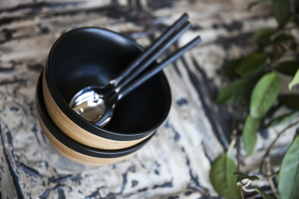 Loto Porcelain & Bamboo Bowls by JIA - dishesonly