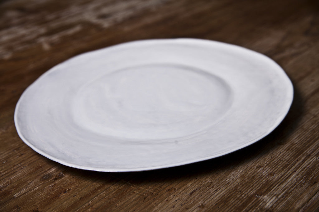 Milky White Ceramic Dinner Plate Handmade in Italy