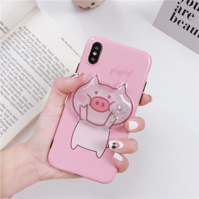 Kawaii Funny Pig Quicksand Squishy Case For IPHONE AHA103992