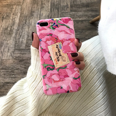 Kawaii Japanese Pink Flowers Phone Case For iPhone AHA399402