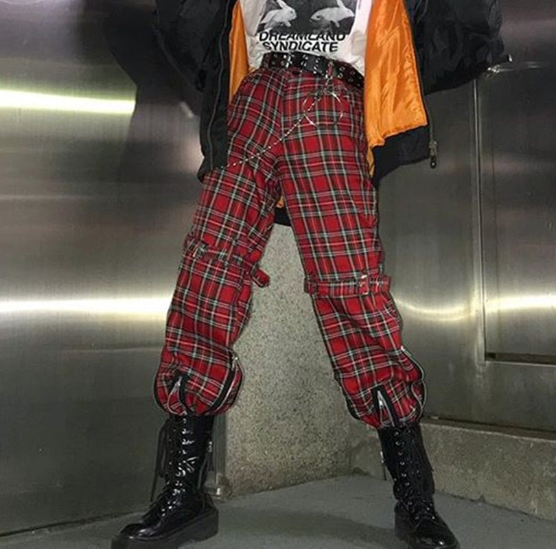 Retro Red Plaid Harajuku Punk Pants JAH582