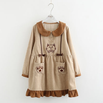 2019 Sweet Lolita Cute Cat Embroidery Corduroy Dress AHA392