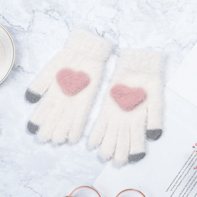Kawaii Lovely Pink Heart Gloves AHA1123