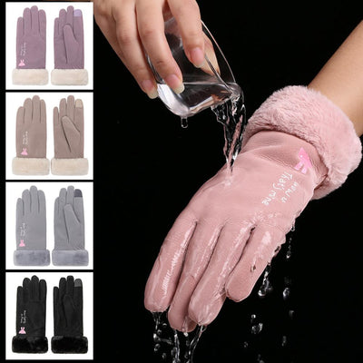 Touch Screen Waterproof PU Leather Gloves AHA1116