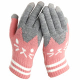 2019 Cute Cartoon Cat Print Touch Screen Gloves AHA1113