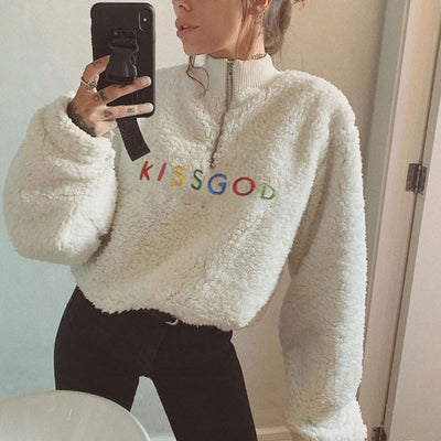 2019 Kawaii Rainbow KISSGOD Embroidery Fleece Sweatshirt AHA3299