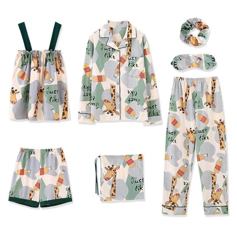 Plus Size Kawaii Print Pajamas Set AHA209984