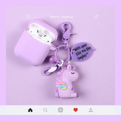 Super Cute Unicorn AirPods Case With Keychain AHA393135
