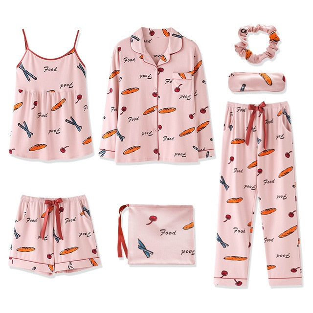 Plus Size Food Print Pajamas Set AHA209986