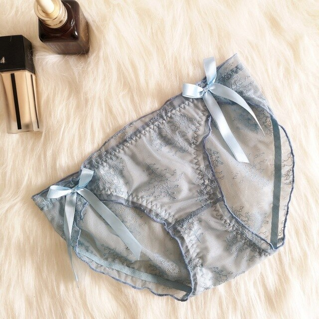 Japanese Lolita Style Lace Floral Embroidery Transparent Panty AHA200391